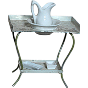 Antique Doll House Tin Wash Stand with Porcelain Water Pitcher & Bowl  & 2 Porcelain .