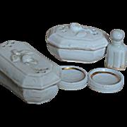 Antique Mintature White Porcelain Dresser Set of 7 pieces for Doll dresser or Doll House ...