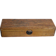 """Old Oak Wood School box  With a Some Accessory's Pre- 1920   8"""" X 2 ..."""