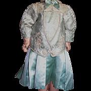 Beautiful Jumeau Doll French Bebe Doll  Dress Two Piece  Blue Satin Brocade & Lace 17 ...