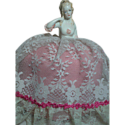 German Half Doll Pin Cushion Blonde Molded Hair Gold highlights  Pink Cushion with Lace  7 ...