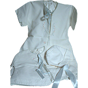 Vintage White  Baby Outfit 3 Piece Set  Jacket  Long Gown and matching Bonnet  Hand Embroidere