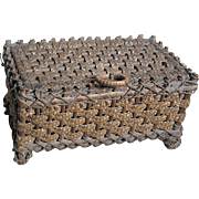 Small Wood & Wicker Straw Basket  lined with Heavy multi colored fabric