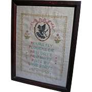 Cross Stitch Sampler  Hours fly  Flowers Die  in Framed Picture