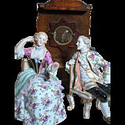 2 Porcelain Victorian Style Figurines + Wood Dresser Figurines by Von Schierhotz Porcelain ...
