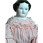 China Shoulder Head Doll Black Molded Hair Flat Top 1860s 23 inch