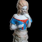 German China Half Doll Brush Colorful Blond Half Doll  8 inch