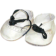 """Vintage White Leather Doll Shoes and White Stockings 2-1/4"""" X 1-1/4"""""""