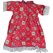 """Small Old Doll Dress Red Print Trimmed with Lace  7-1/2 """" Long"""