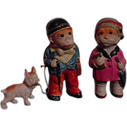 SOLD Comical Pair Of Bisque Monkey Figures