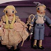 SALE PENDING Pair Of Vintage Cloth Nursery Rhyme Characters By Althea Smart