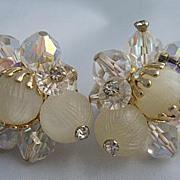 VENDOME Rhinestone Crystal Gold-Tone Designer Clip Earrings
