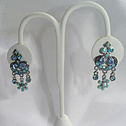 Blue Rhinestone Hanging Clip Earrings Kirks Folly Silver-Tone