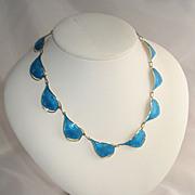Norway Sterling Silver Blue Enamel Necklace - Ivar Holt