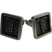 Sterling Silver Cufflinks Physicians Symbol Serpent Snake