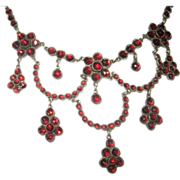 Bohemian Garnet Festoon Necklace from 1800's Victorian Era