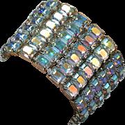 Wide Rhinestone Bracelet with Eye Popping Aurora Borealis
