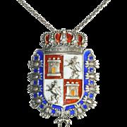 Coat of Arms Necklace Enamel Crown Shield Pendant