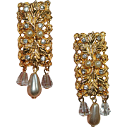 Tuscany Collection Clip Earrings with Leaves, Rhinestones & Drop Pearls