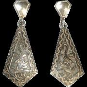 Guatemala Silver Earrings with Mayan, Aztec or Inca Signed Alpaca