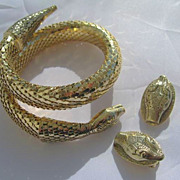 WHITING & DAVIS Vintage SNAKE  Bracelet and Earring Set