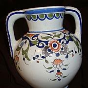 Antique French Faience Quimper Vase Montfleur.fait.Main By