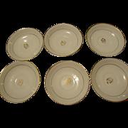 Antique Tea Leaf Ironstone China set of 6 saucers tealeaf white & Gold