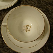 Antique Tea Leaf Ironstone China set of 3 cups & saucers tealeaf white & Gold