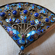 SOLD Vintage Chinese Silver BROOCH  Lapis stone & Enamel Butterfly Amazing work