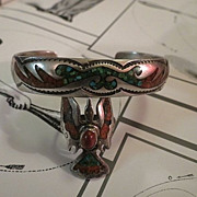 SALE Vintage Navajo sterling Silver turquoise & coral Ring & bracelet BEGAY Bee-GAY
