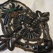 Antique Victorian Embroidery  wire work w/ Mercury Beads