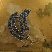 Gorgeous signed Coro Basket Brooch Blue Cabochons and Pave rhinestones Huge