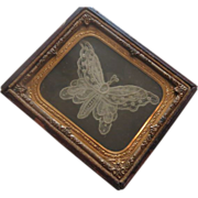 REDUCED Antique Hand made Lace Butterfly  in Daguerreotype Frame