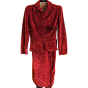 Vintage Womens Red velvet Skirt and Jacket 1930s suit