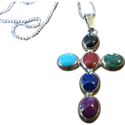 Vintage Taxco mexican silver multi stone cross sterling silver Necklace Pendant