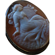 Antique 800 Silver Hard Stone Cameo Brooch Pendant