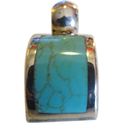 Vintage Mexican silver Sterling Silver Turquiose Pendant