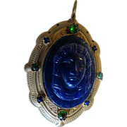Vintage colbalt blue glass Egyptian revival art nouveau pendant