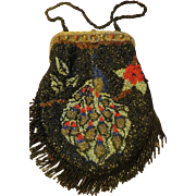 Exquisite Peacock Beaded Purse,with jeweled frame turquoise and carnelian stones ca. 1900