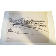 AYERS, Hester, (American, 1902-1975) Landscape Ink Drawing  Estate of Hester Merwin Ayers ...