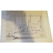 AYERS, Hester, (American, 1902-1975):Original  INK Boat Drawing Estate of Hester Merwin Ayers