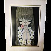 Vintage Original first edition White Camellia Shuzo Ikeda wood block Japanese Print 1969 43/10