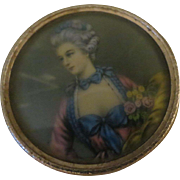 Vintage Painted Portrait French Ivory Music Box