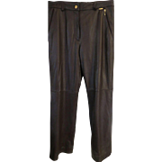 St.John Sport Marie Gray size 10 NWT Brown Leather Pants