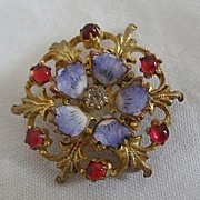 Antique enamel Ruby color glass & gold plate womens  Brooch