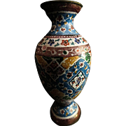 Antique Cloisonne Chinese Doll House Miniature Vase Unusual Pattern