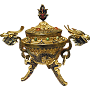 Chinese Cloisonne Gold Gilt enamel Censer w/ carnelian and turquoise