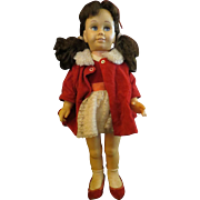 Vintage Chatty Cathy doll Mattel brunette pigtail original outfit and shoes
