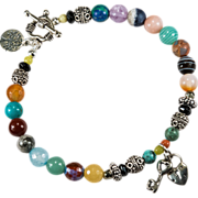 SOLD Tree Of Life Key To My Heart Mixed Gemstone 925 Sterling Charm Beaded Bracelet Or Anklet