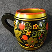 Decorative Folk Style Russian Mug & three Cups